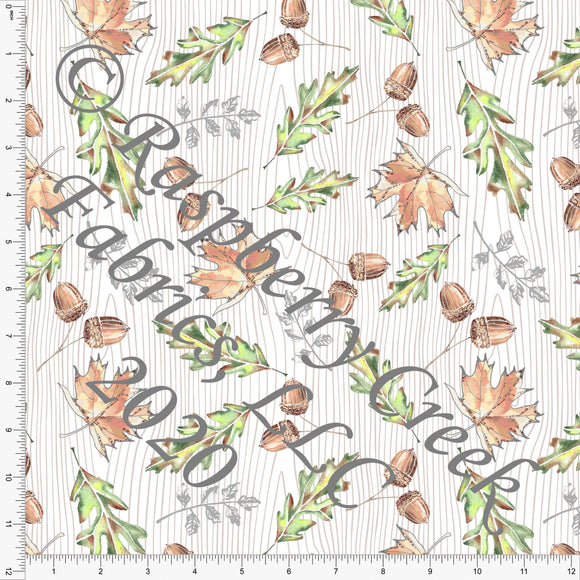 Green Brown and Grey Wood Grain Acorn Leaves, Fall Foliage By Elise Peterson for Club Fabrics - Raspberry Creek Fabrics