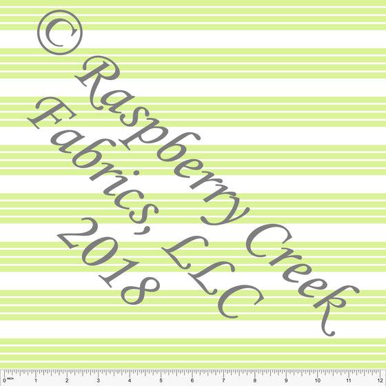 Light Lime Green and White Stripe 4 Way Stretch MATTE SWIM Knit Fabric, Club Fabrics