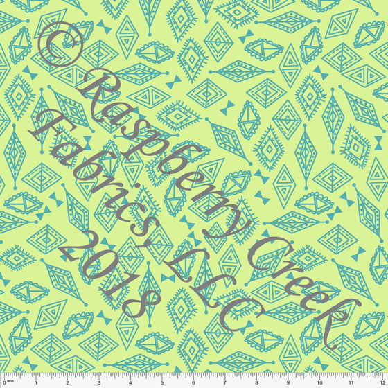 Light Lime Green and Teal Geometric Diamond 4 Way Stretch MATTE SWIM Knit Fabric, By Kim Henrie For Club Fabrics