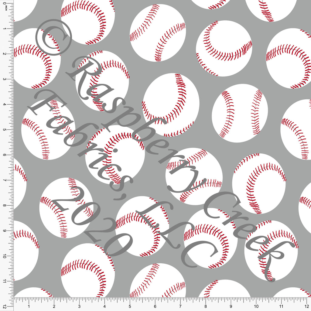 Light Grey Red and White Baseballs Print Double Brushed Poly Knit Fabric, By Brittney Laidlaw for CLUB Fabrics - Raspberry Creek Fabrics