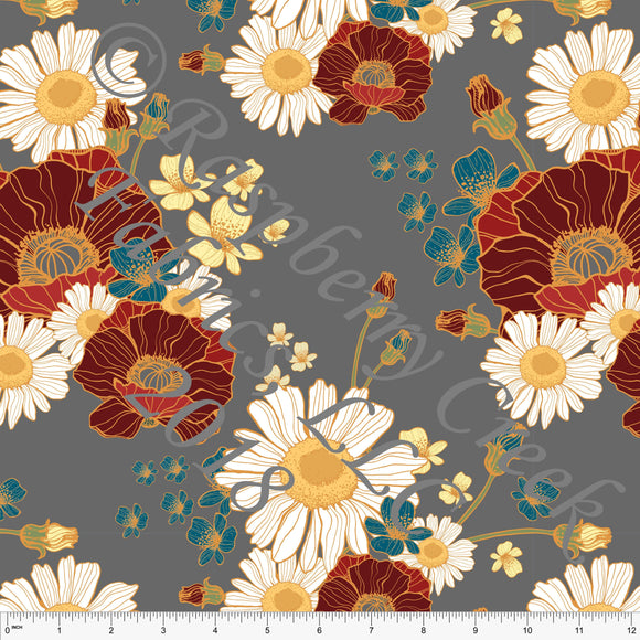 Grey Yellow Burgundy Teal and White Floral 4 Way Stretch Double Brushed Poly Knit Fabric, Brushed Poly for CLUB Fabrics - Raspberry Creek Fabrics