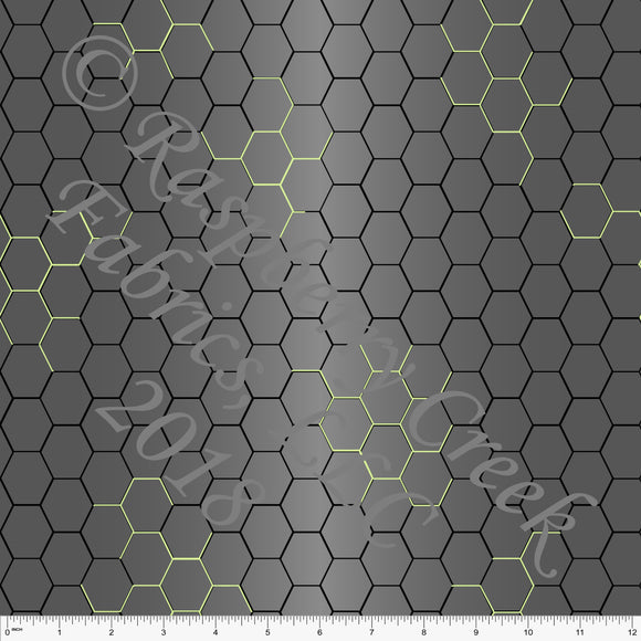 Grey Black and Green Geometric Hexi 4 Way Stretch MATTE SWIM Knit Fabric, By Elise Peterson for Club Fabrics