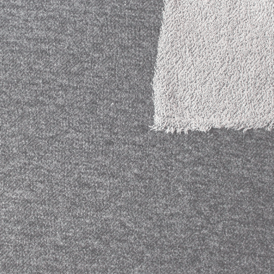 Grey Heathered French Terry Knit Sweatshirt Fabric, 1 Yard