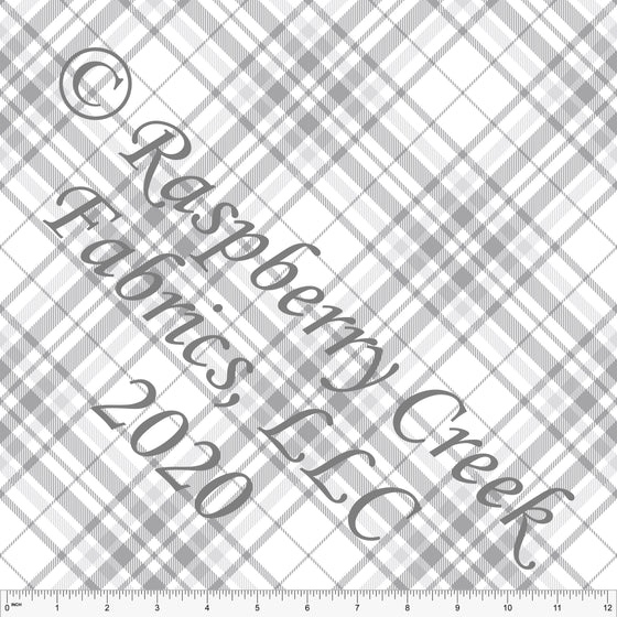 Grey and White Diagonal Plaid Print for Club Fabrics - Raspberry Creek Fabrics