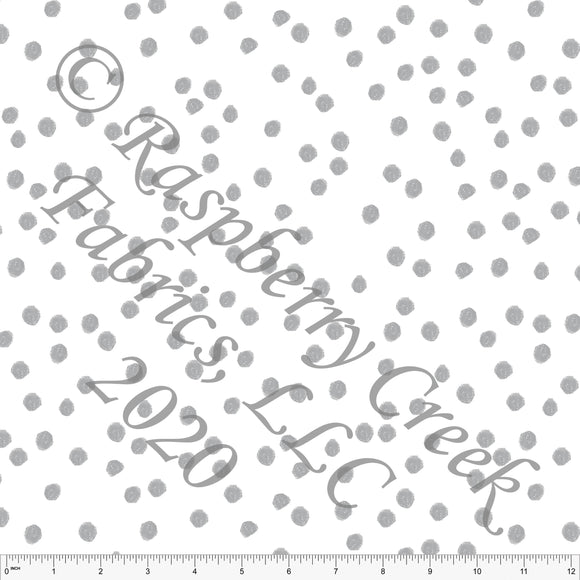 Grey and White Random Polka Dot By Elise Peterson for Club Fabrics - Raspberry Creek Fabrics
