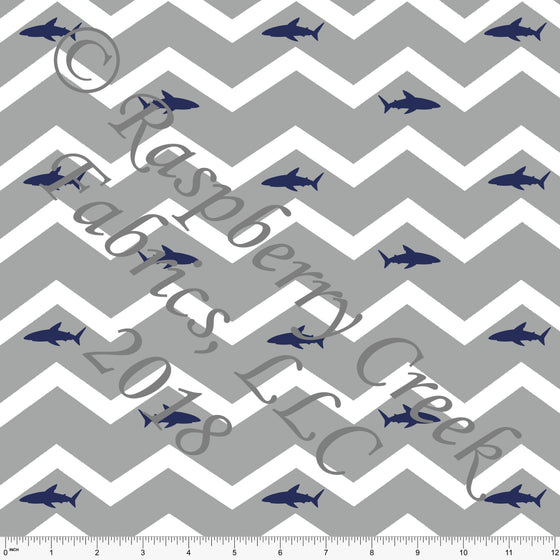 Grey White and Navy Chevron Shark 4 Way Stretch MATTE SWIM Knit Fabric, By Elise Peterson for Club Fabrics