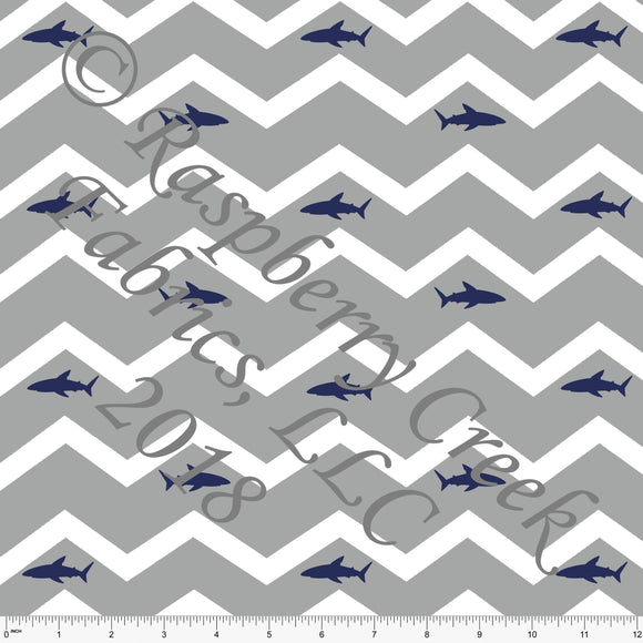 Grey White and Navy Chevron Shark Sueded Microfiber Woven Board Short Fabric, By Elise Peterson For CLUB Fabrics