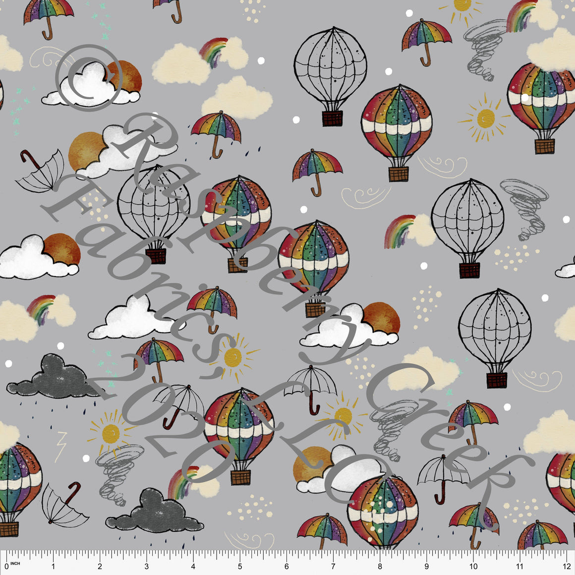 Grey Red Mustard Green Blue and Eggplant Happy Place Umbrella Hot Air Balloon Print 4 Way Stretch Double Brushed Poly Knit Fabric, By Bri Powell for CLUB Fabrics - Raspberry Creek Fabrics