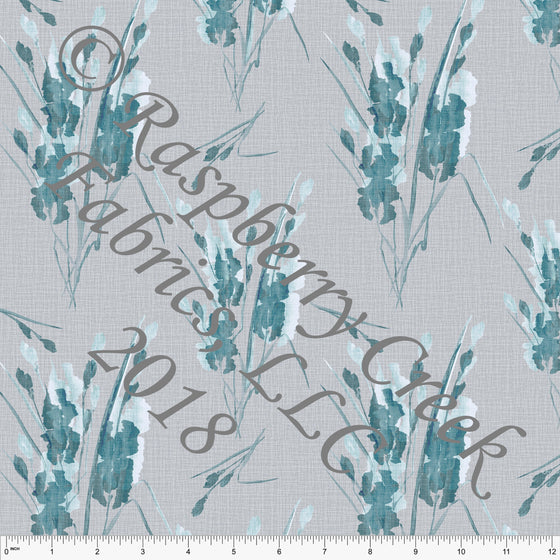 Grey and Teal Linen Look Floral in Rayon Challis, 1 Yard