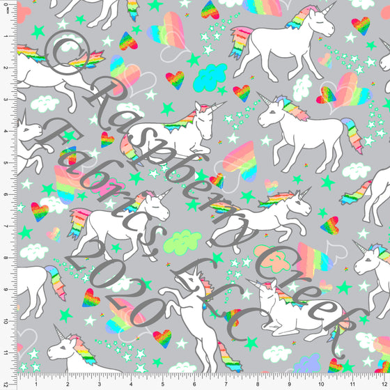 Neon Green Pink Yellow Blue and Grey Unicorn Print Double Brushed Poly Knit Fabric, Mythical by Elise Peterson for CLUB Fabrics - Raspberry Creek Fabrics