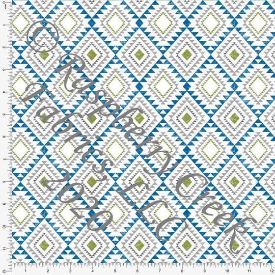 Bright Blue Grass Green and Light Grey Diamond Grunge Geometric Print Double Brushed Poly Knit Fabric, CLUB Fabrics - Raspberry Creek Fabrics