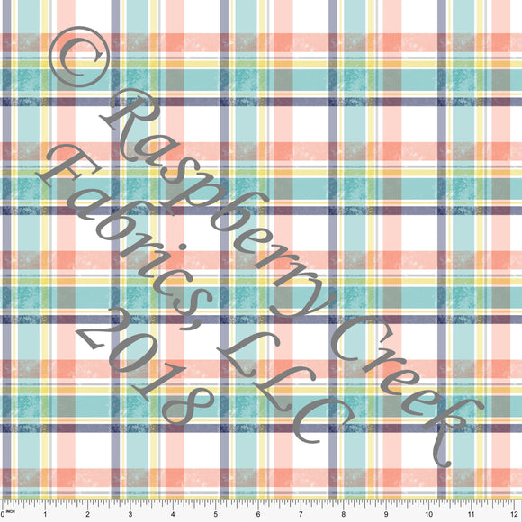 Teal Coral Yellow and Navy Grunge Plaid 4 Way Stretch MATTE SWIM Knit Fabric, Club Fabrics