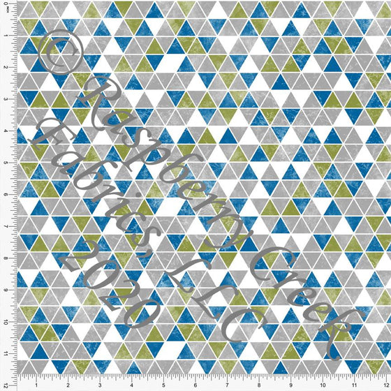 Light Grey Grass Green and Bright Blue Grunge Triangle Print Double Brushed Poly Knit Fabric, CLUB Fabrics - Raspberry Creek Fabrics
