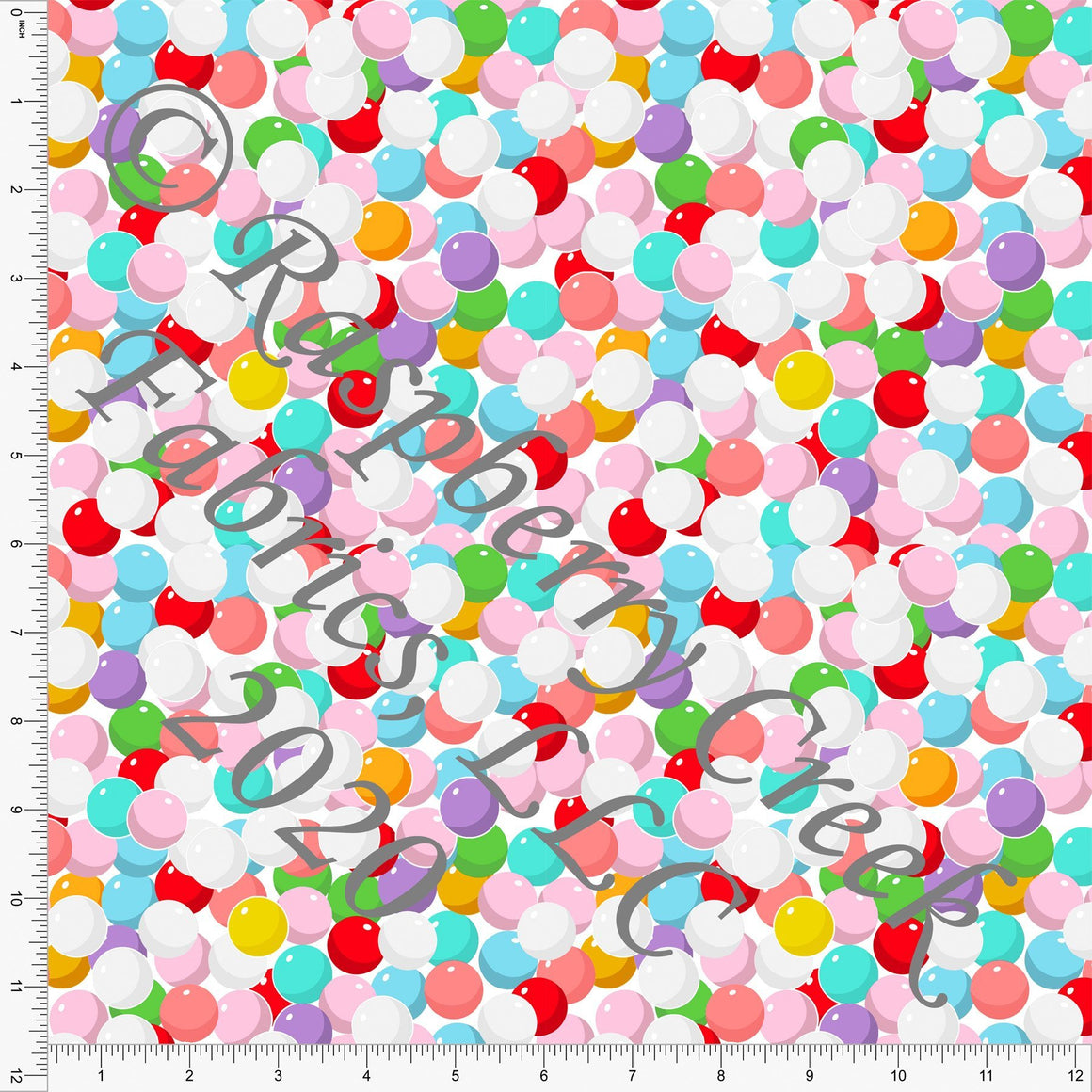 Blue Pink Red Green Lilac and Mustard Tossed Gumballs, Candy Shoppe By Bri Powell for Club Fabrics - Raspberry Creek Fabrics
