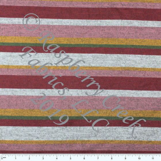 Burgundy Mustard Mauve and Olive Multi Stripe Brushed Heathered Hacci Sweater Knit Fabric, CLUB Fabrics Hacci, 1 Yard