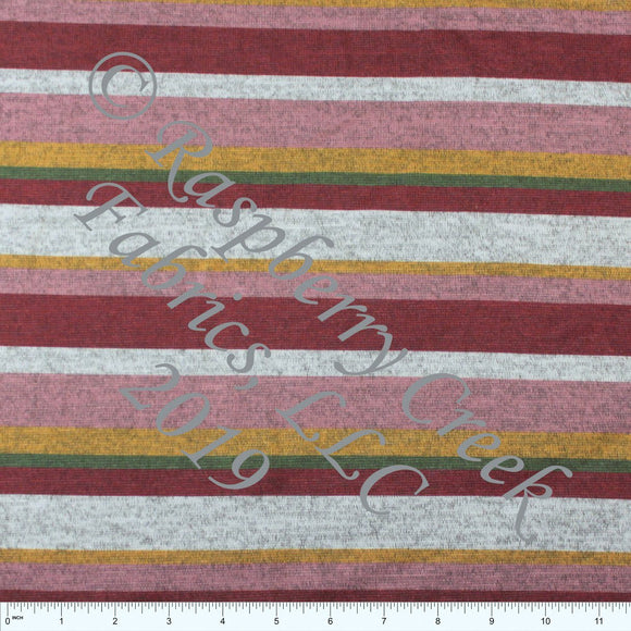 Burgundy Mustard Mauve and Olive Multi Stripe Brushed Heathered Hacci Sweater Knit Fabric, CLUB Fabrics Hacci - Raspberry Creek Fabrics