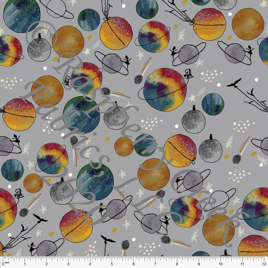Grey Red Mustard Green Blue and Eggplant Happy Place Planet Space Print Double Brushed Poly Knit Fabric, By Bri Powell for CLUB Fabrics - Raspberry Creek Fabrics