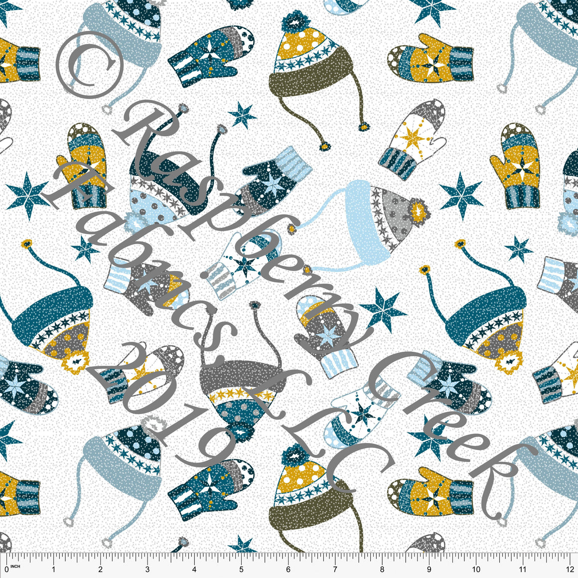 Blue Teal Mustard and Grey Stocking Hats and Mittens by Elise Peterson for Club Fabrics - Raspberry Creek Fabrics