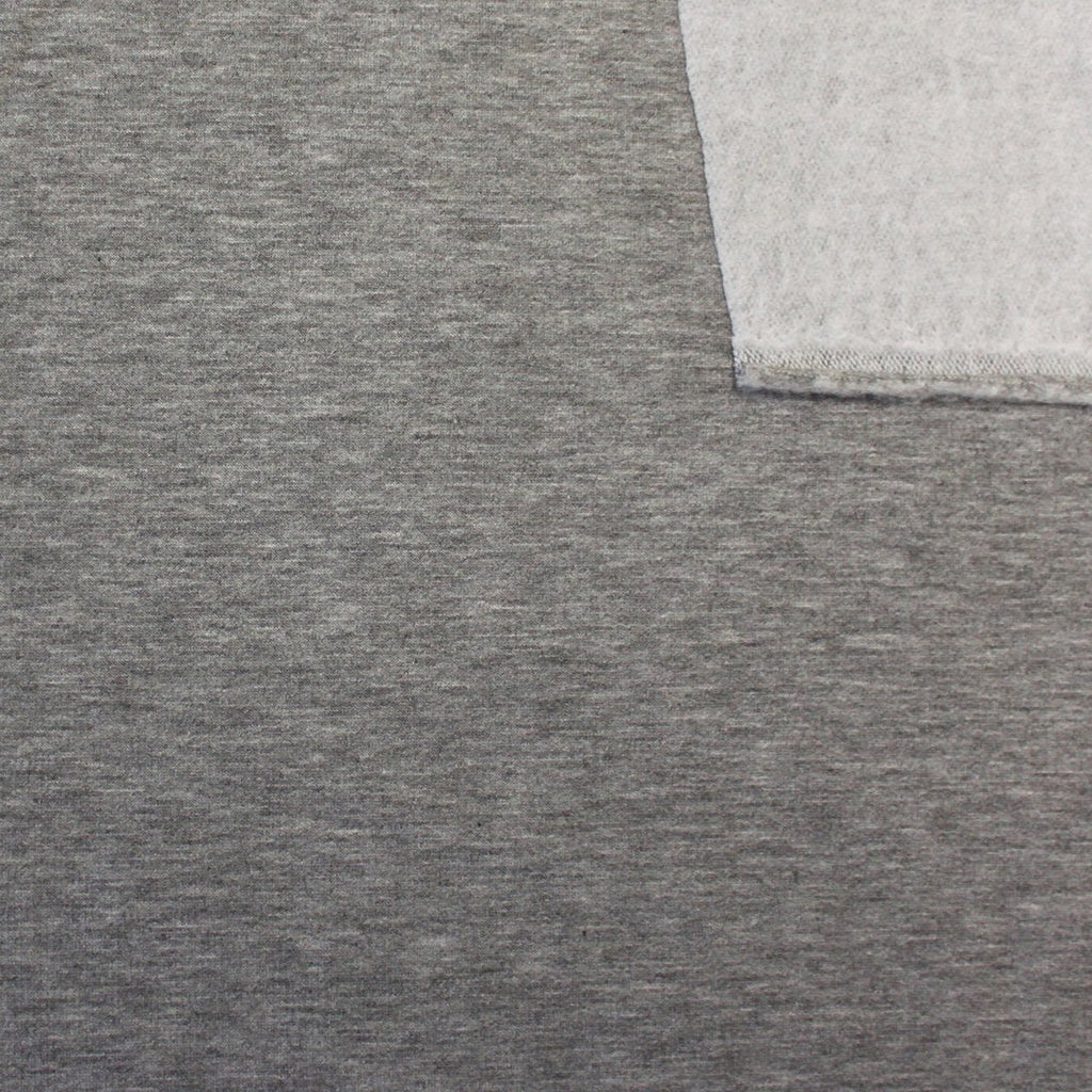Medium Grey French Terry Fleece Sweatshirt Knit Fabric, 1 Yard