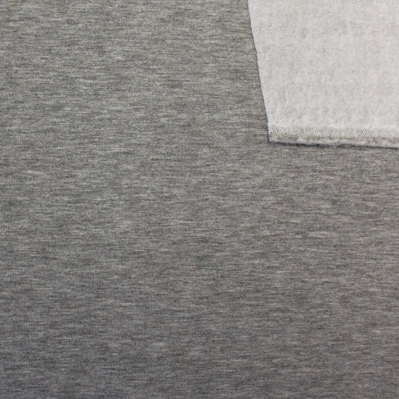 Medium Grey French Terry Fleece Sweatshirt Knit Fabric, 1 Yard - Raspberry Creek Fabrics