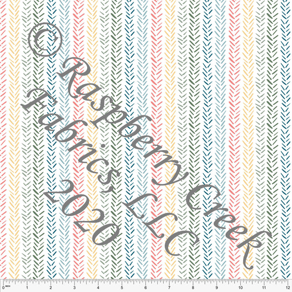 Salmon Sage Dusty Yellow and Dusty Blue Herringbone Vertical Multi Stripe, Flora and Fauna By Lisa Mabey Club Fabrics - Raspberry Creek Fabrics
