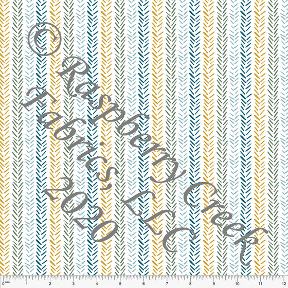 Mustard Sage and Teal Fauna Vertical Herringbone Stripe, Flora and Fauna By Lisa Mabey Club Fabrics - Raspberry Creek Fabrics