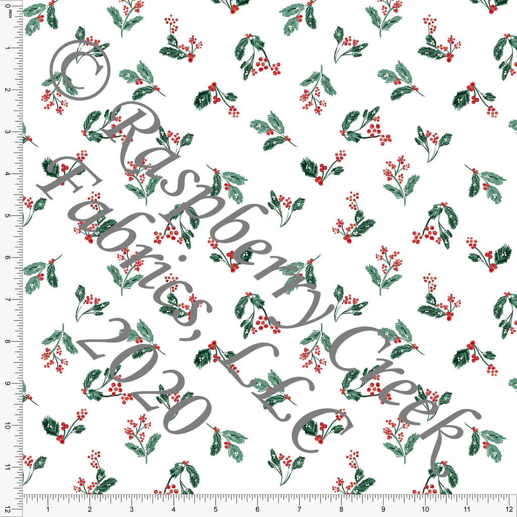 Dusty Green and Red Holly Berry Floral Print, Christmas Floralsaurus by Kimberly Henrie for Club Fabrics - Raspberry Creek Fabrics