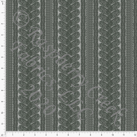 Hunter Green Cable Knit Sweater Stripe Print Double Brushed Poly Knit Fabric, Sweater Weather by Kelsey Shaw for CLUB Fabrics - Raspberry Creek Fabrics