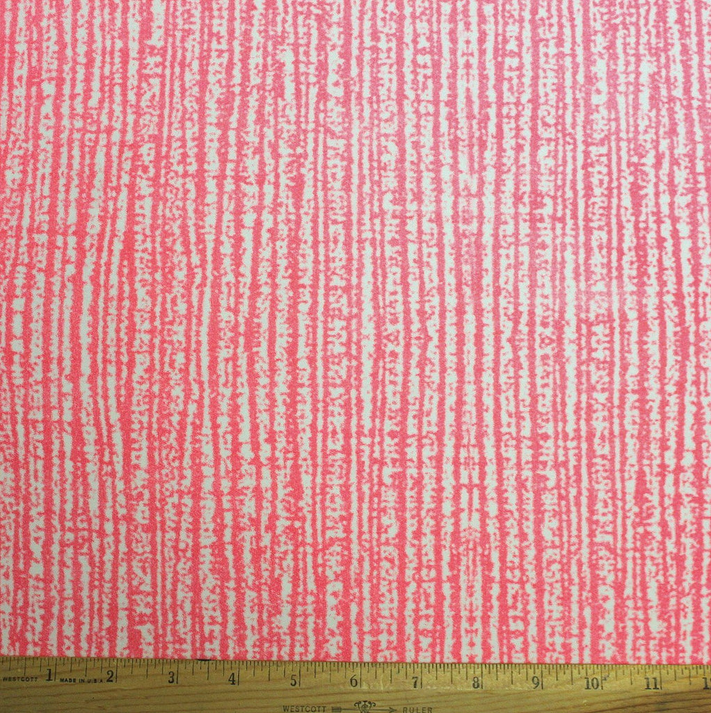Neon Pink and White Wood Grain Marble Look Double Brushed Poly Spandex Knit, 1 Yard