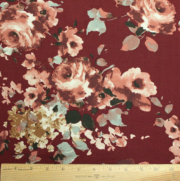 Burgundy Dusty Aqua and Mustard Floral Double Brushed Poly Spandex Knit, 1 yard