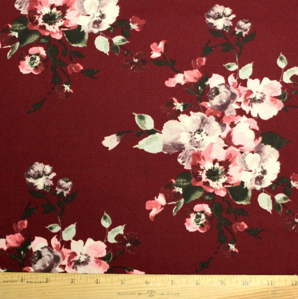 Burgundy Olive Purple and Cream Floral Double Brushed Poly Spandex Knit, 1 yard