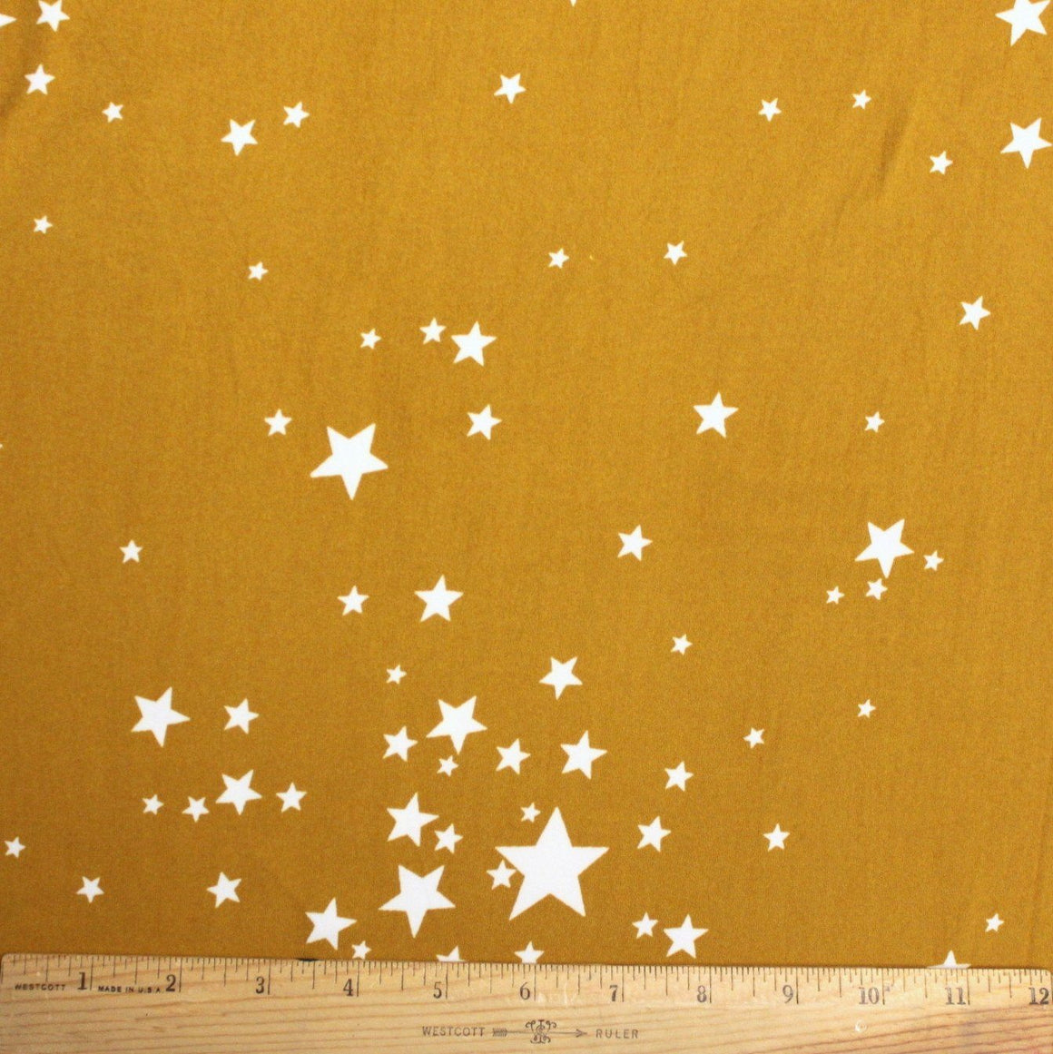 Mustard Yellow and White Geometric Star Double Brushed Poly Spandex Knit, 1 yard
