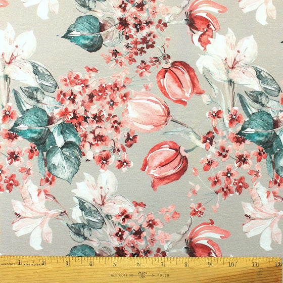 Beige Grey Red Teal and White Winter Floral Ponte De Roma Knit Fabric, 1 yard