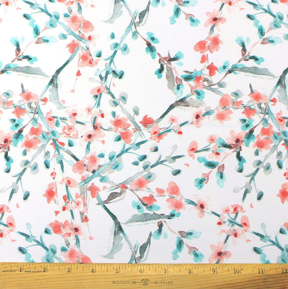 White Red Teal and Grey Winter Branch Floral Ponte De Roma Knit Fabric, 1 yard