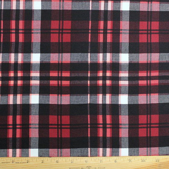 Cranberry Red Black and White Plaid Double Brushed Poly Spandex Knit, 1 yard