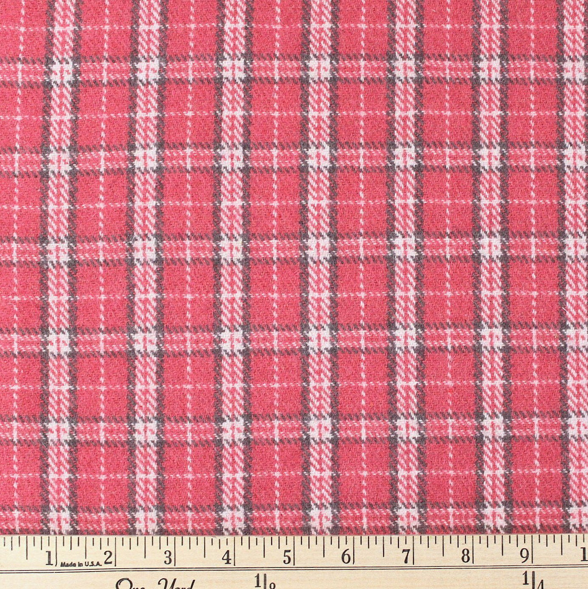 Salmon Pink Grey and Cream Plaid Wool