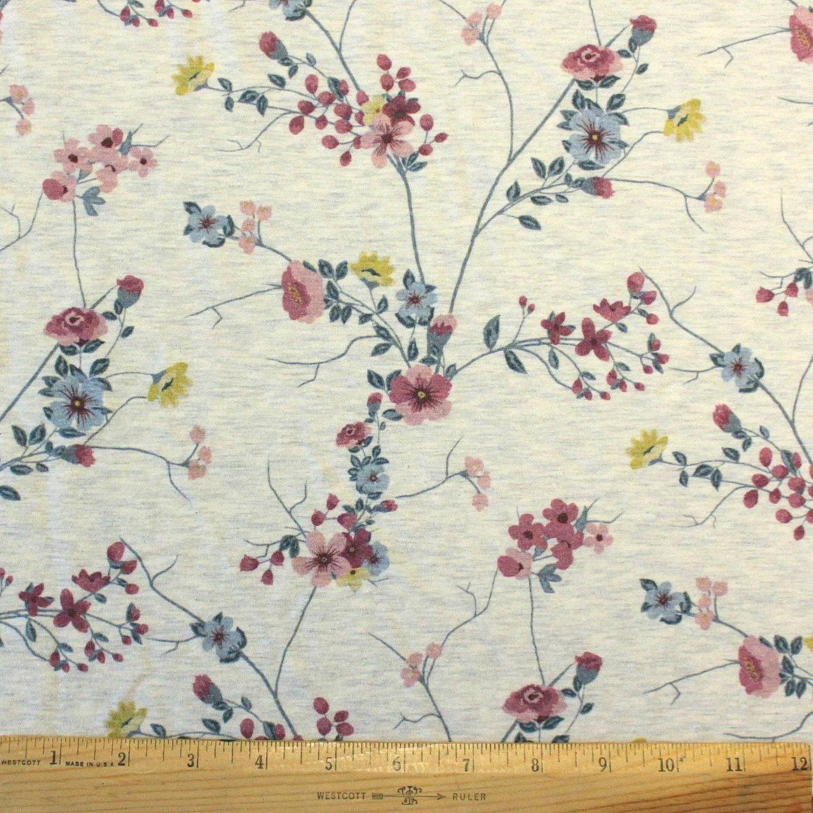 Teal Mauve and Yellow Twig Floral on Oatmeal 4 Way Stretch Jersey Knit Fabric With Spandex, 1 Yard