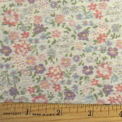 Light Pink Blue Purple and Grey Petite Vintage Floral on Oatmeal 4 Way Stretch Jersey Knit Fabric With Spandex, 1 Yard