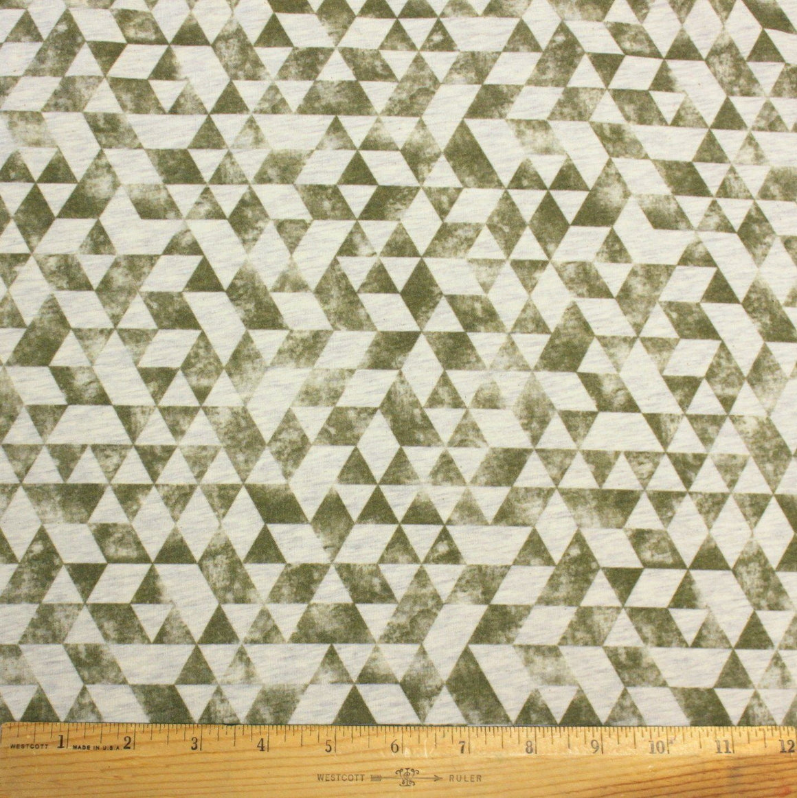 Olive Green Distressed Grunge Geometric Abstract Triangle on Oatmeal 4 Way Stretch Jersey Knit Fabric With Spandex, 1 Yard