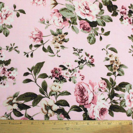 Light Pink Burgundy Olive and Cream Floral Rayon Challis, 1 Yard