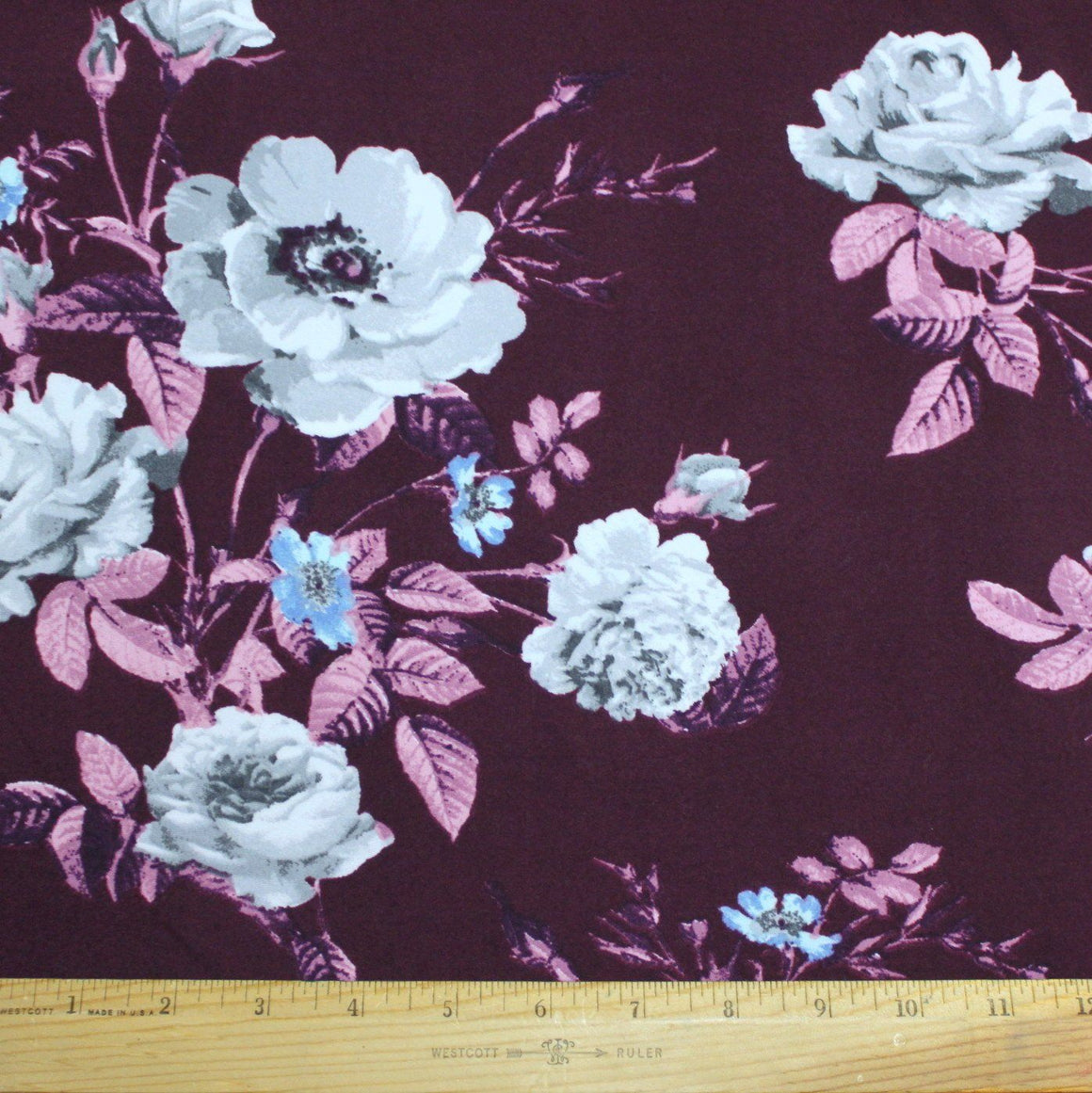 Eggplant Purple Blue and Grey Floral Double Brushed Poly, 1 Yard