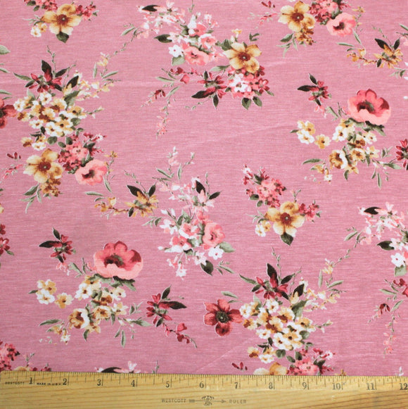 Mauve Pink Burgundy Yellow and Cream Floral Rayon Spandex Jersey Knit Fabric, 1 Yard
