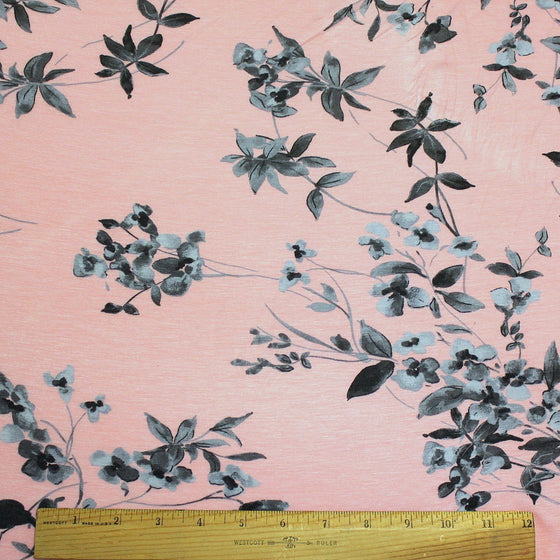Light Pink Grey and Charcoal Grey Floral Rayon Spandex Jersey Knit Fabric, 1 Yard