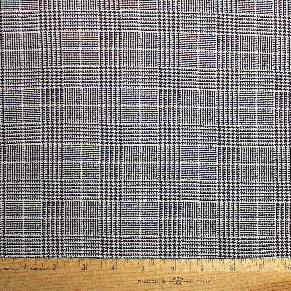 Black and White Houndstooth Plaid Double Brushed Poly, 1 Yard