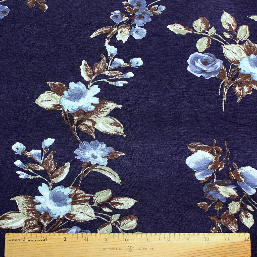 Navy Blue Aqua Green and White Floral Rayon Spandex Jersey Knit Fabric, 1 Yard