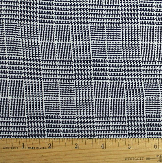 Navy Blue and White Houndstooth Plaid Double Brushed Poly, 1 Yard