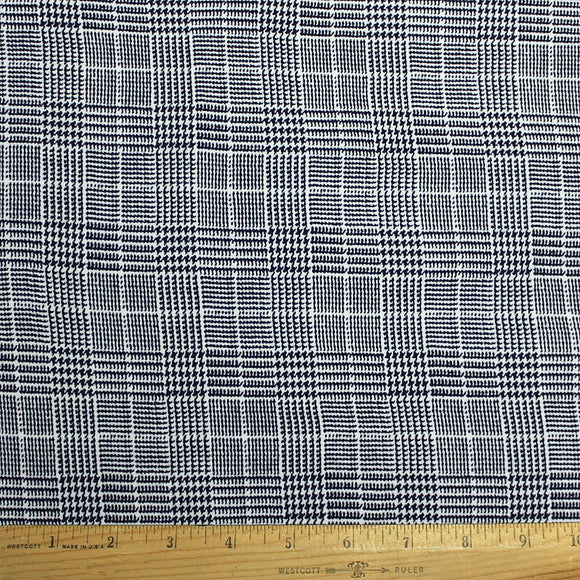 Navy Blue and White Houndstooth Plaid Double Brushed Poly, 1 Yard - Raspberry Creek Fabrics