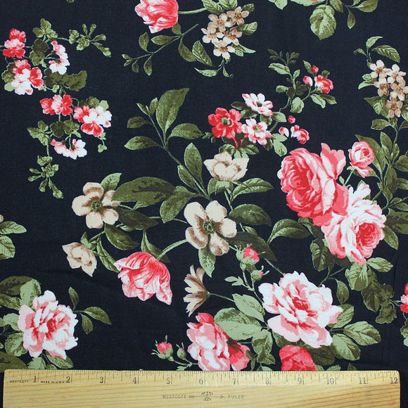 Navy Blue Pink Red Green and White Floral Rayon Challis, 1 Yard
