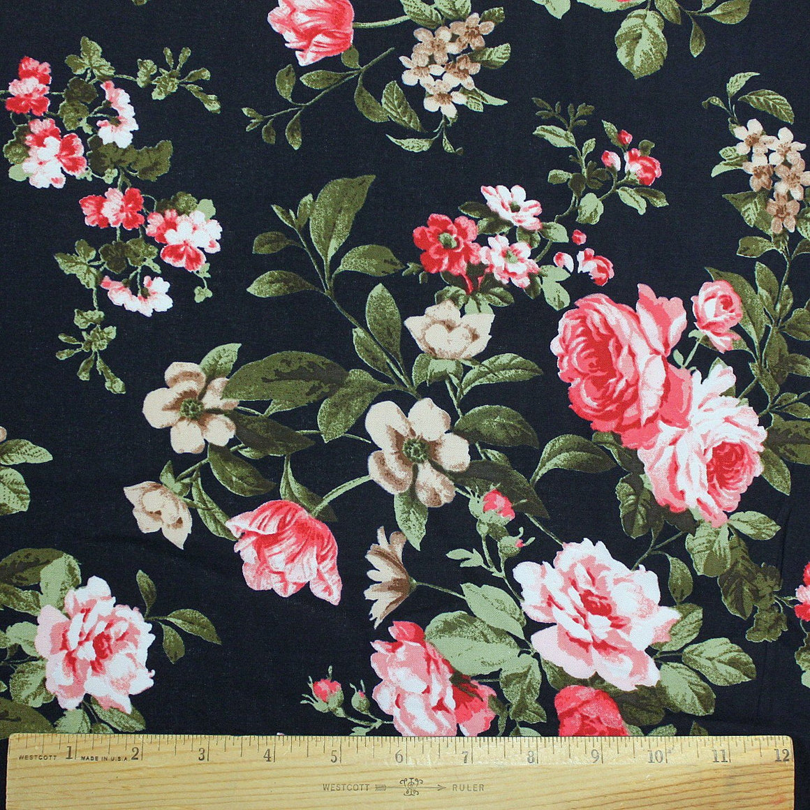 Navy Blue Pink Red Green and White Floral Rayon Challis, 1 Yard - Raspberry Creek Fabrics