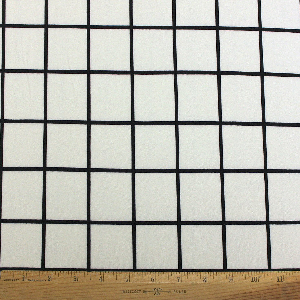 Cream and Black Windowpane Plaid Double Brushed Poly, 1 Yard